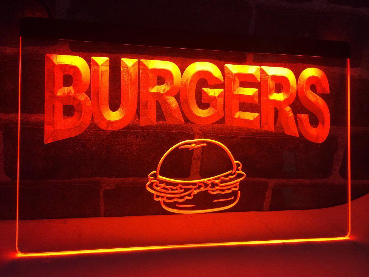 Burgers Cafe LED Neon Light Sign Bar Club Pub Advertise