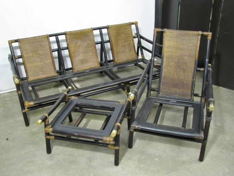 "1950s Ficks Reed Bamboo Sofa, Armchair & Ottoman; ""Far Horizons"" by John Wisner"