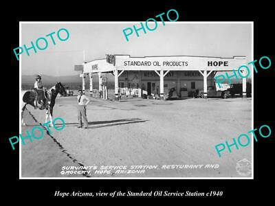 OLD 6 X 4 HISTORIC PHOTO OF HOPE ARIZONA, THE STANDARD OIL GAS STATION c1940
