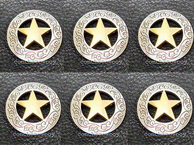"""Set of 6 WESTERN SADDLE HEADSTALL ANTIQUE GOLD STAR CONCHOS 1-1/8"""" screw back"""