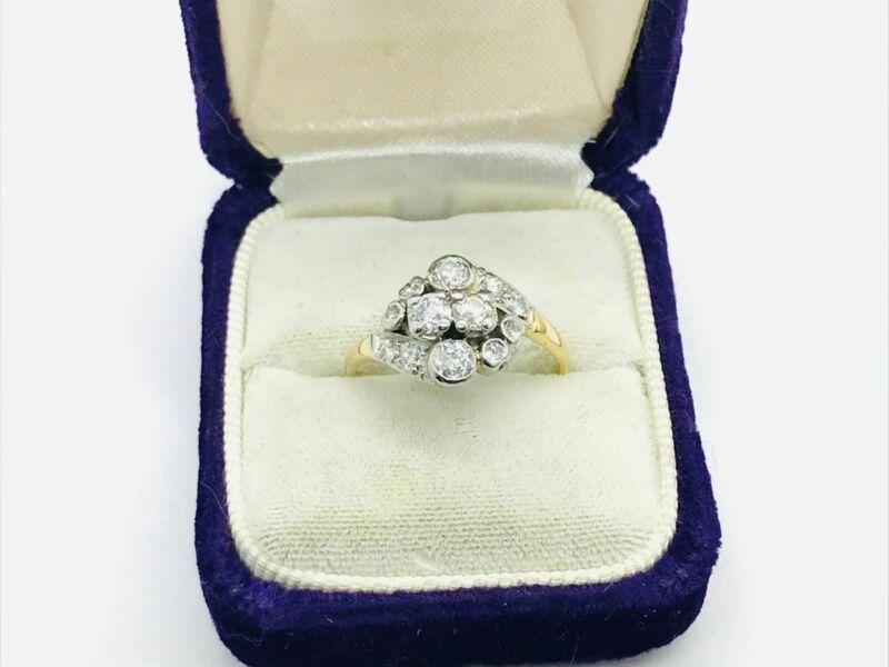 Edwardian 14K Gold & Platinum 1.14ctw Diamond Cluster Ring