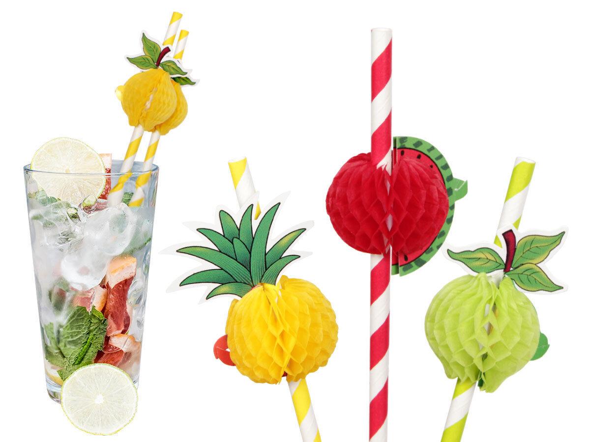 3D Frucht Cocktail 8x Papier-Strohhalme Party Deko Geburtstag Freizeit 500175