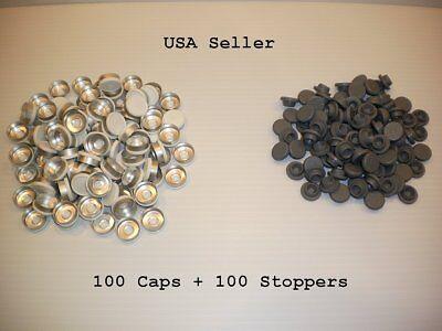 200 Set 20mm Serum Vial Snap On Stoppers Aluminum Flip Off Crimp Cap Seal Lot W