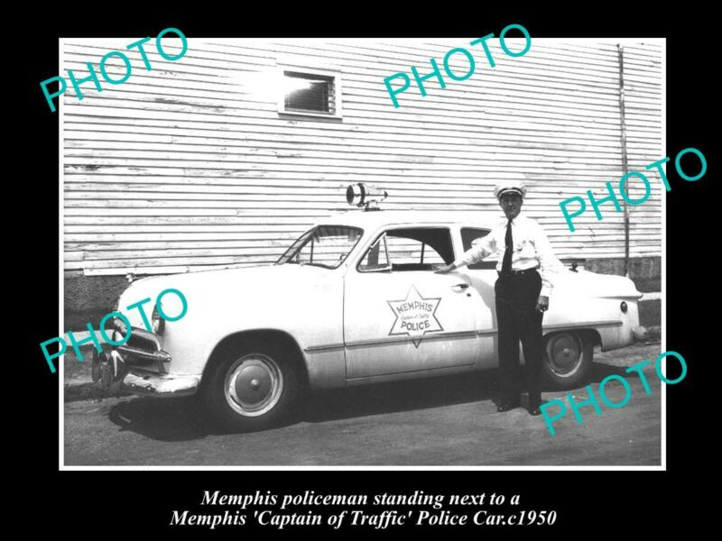 OLD POSTCARD SIZE PHOTO OF MEMPHIS TENNESSEE CAPTAIN OF TRAFFIC POLICE CAR 1950