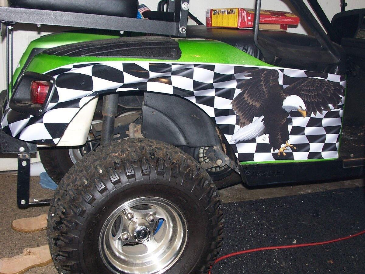 Golf Cart American Checker Flag Eagle LARGE SIDE Graphics Decals EZGO club Car