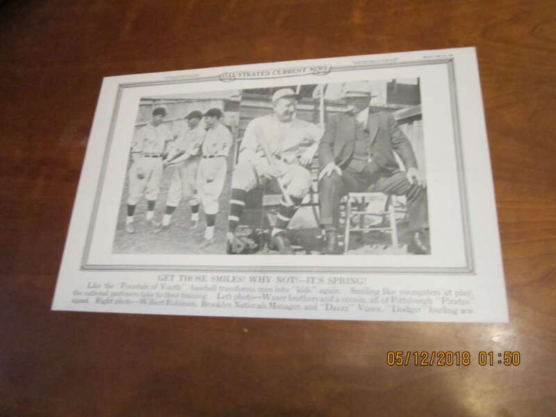 3/9 1928 Illustrated Current News Paul Waner & Dazzy Vance Ftboxb