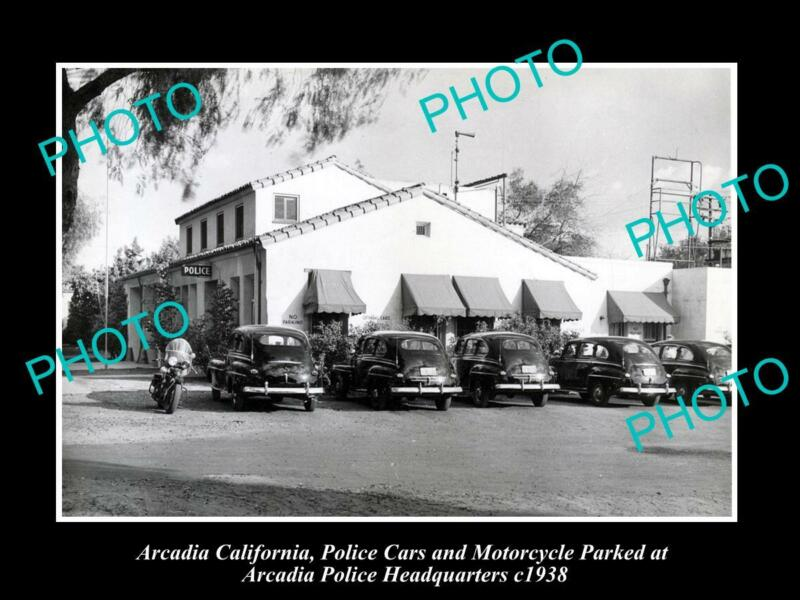 OLD POSTCARD SIZE PHOTO OF ARCADIA POLICE DEPARTMENT H/QUARTERS CALIFORNIA 1938