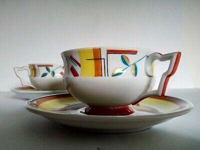 Otto Prutscher art deco/bauhaus teacup with saucer, Augarten (Bauhaus Art Deco)