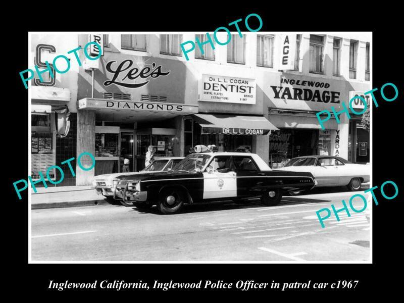 OLD 8x6 HISTORIC PHOTO OF INGLEWOOD CALIFORNIA THE POLCE PATROL CAR c1967