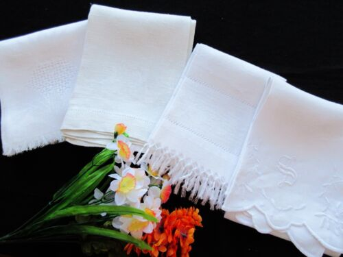 FOUR Antique Victorian White Damask Linens Towels / Runners