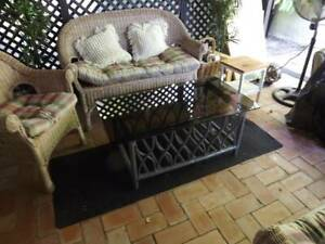 Coffee Table cane with glass top at Corinda