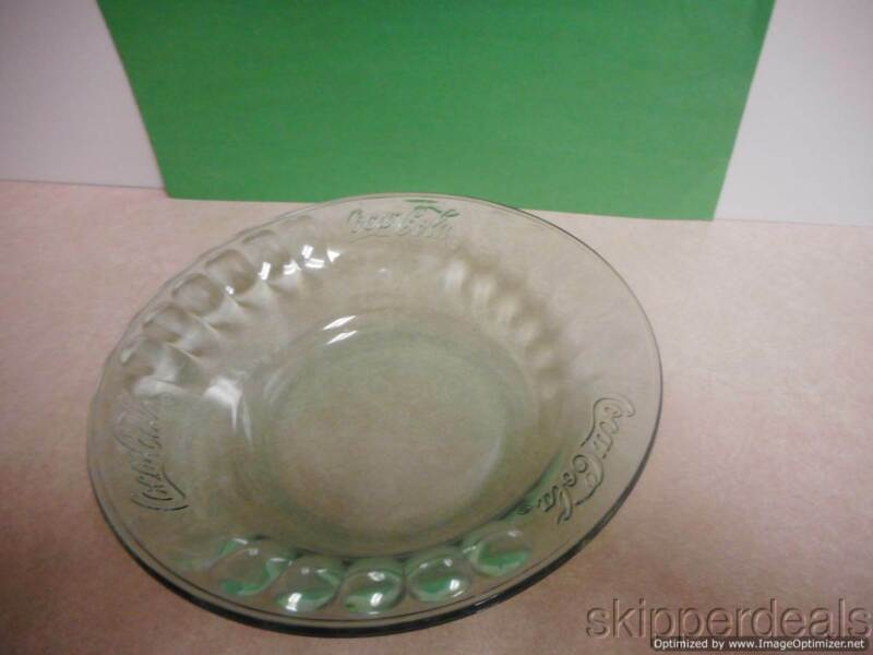 """2 COCA COLA GREEN GLASS BOWL EMBOSSED 7.5"""" VINTAGE TWO"""