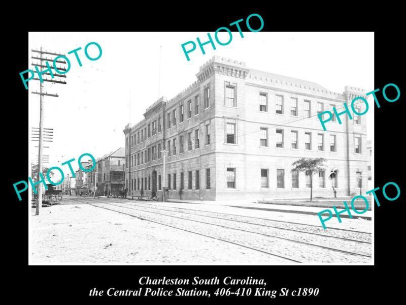 OLD POSTCARD SIZE PHOTO OF CHARLESTON SOUTH CAROLINA THE POLICE STATION c1890