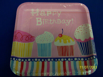 Girl 9 Dinner Plates (Yummy Cupcake Pink Food Sweets Girl Birthday Party 9