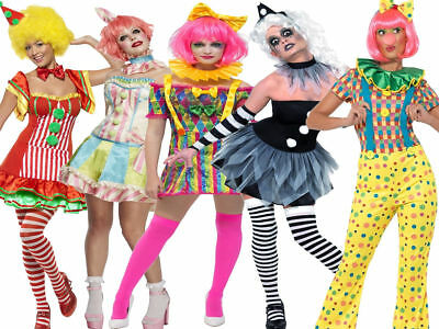 Ladies Circus Clown Costume Funny Women Fancy Dress Halloween UK 8-18 (Clown Halloween-kostüme Uk)