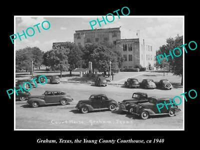 OLD 6 X 4 HISTORIC PHOTO OF GRAHAM TEXAS, THE YOUNG COUNTY COURT HOUSE c1940