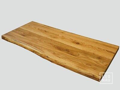 Tischplatte Massivholzplatte Eiche massiv Farblos geölt naturbelassene Baumkante online kaufen