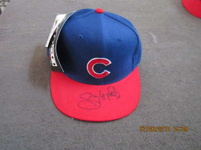 buy online 73cef 40bd3 Gary Mathews Signed Chicago Cubs cap New Era 59 50 em 6 5 8