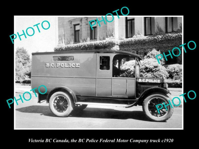 OLD 8x6 HISTORIC PHOTO OF VICTORIA CANADA BC PROVINCIAL POLICE TRUCK c1920