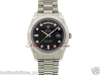 Rolex Day-Date II President Platinum 41mm with Black Diamond Dial 218206