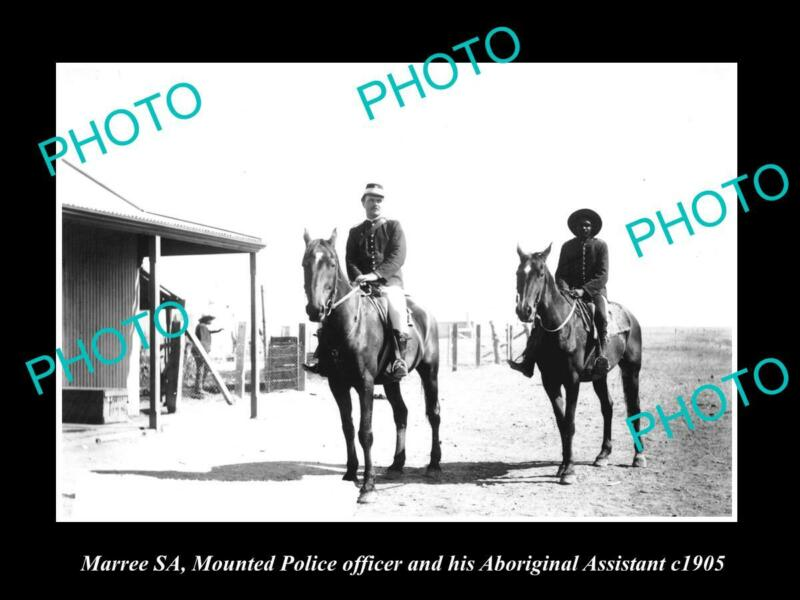 OLD 8x6 HISTORIC PHOTO OF MARREE SA MOUNTED POLICE OFFICIER & TRACKER c1905