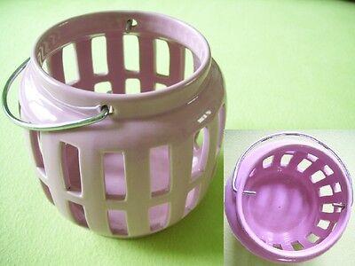 Laterne Windlicht Teelichthalter Chrombügel z.Hängen D=12cm (Lila Laternen)