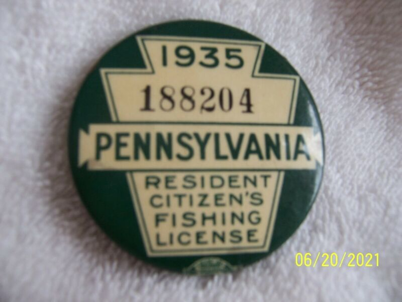 1935 PA FISHING LICENSE VINTAGE WITH PAPER LICENSE