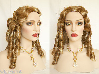 Wavy Curly Costume Wigs With Finger Waves and Locks Medium Blonde Brunette Red - Costume With Blonde Wig