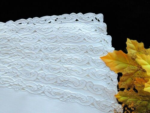 Set of 8 White Linen Placemats ANTIQUE ITALIAN EMBROIDERED CUTWORK Superb Work!