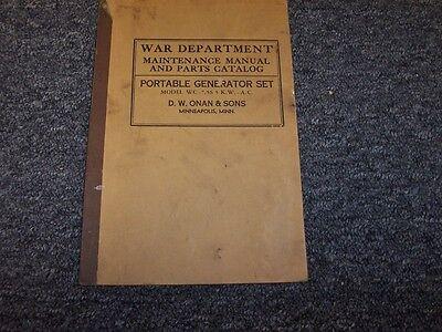 War Department Onan Sons Portable Generator Service Repair Parts Manual