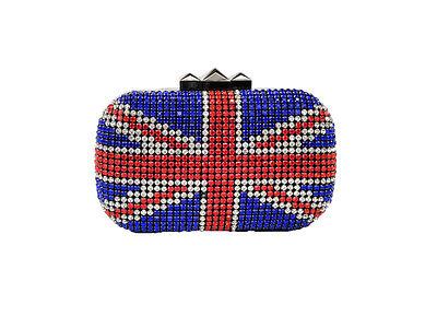 Women Fashion Crystal Minaudiere Clutch British Flag Design Bag