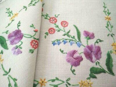 Vintage curtain valance embroidered satin stitch Peacocks blue border blue pink gold lavender flowers 33 x 10