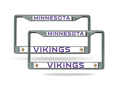 Minnesota Vikings Nfl Chrome Metal  2  License Plate Frame Set