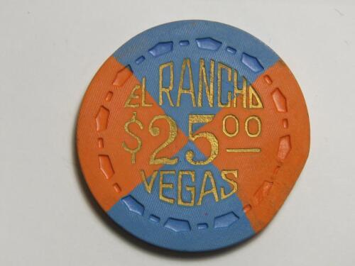 El Rancho - Las Vegas Nevada - $25 Casino Chip - 1950s Scrown