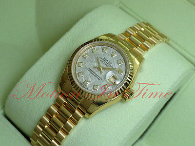 Rolex President Datejust Ladies 18kt Yellow Gold Meteorite Diamond Dial 179178