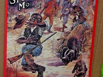 HUNTING PARTY -- Guide Tracks a Skunk to a Hollow Log ? - US FUR - St Louis SIGN