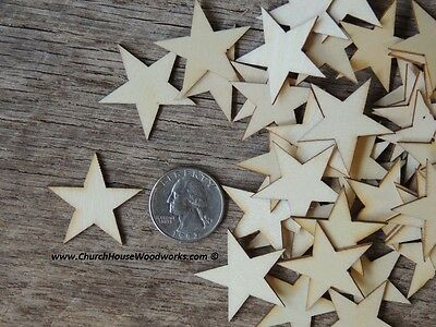 100 qty Small 1-1/4  inch Star Wood 1.25 Crafts Flag Making Wooden Decor DIY - Wooden Star