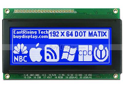 3.3blue 192x64 Dots Graphic Lcd Display Module Lcm Wks0107ks0108 Wtutorial