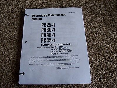 Komatsu Pc25-1 Pc30-7 Pc40-7 Pc45-1 Hydraulic Excavator Owner Operation Manual