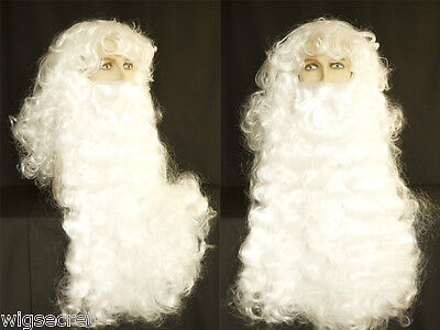 Delux Santa Long White Wavy Curly Costume Men's Wig With Long beard (Curly Santa)