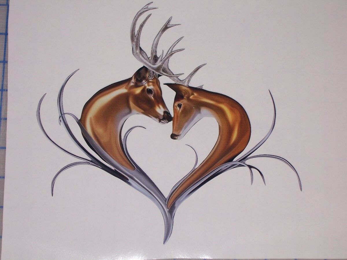 Deer Heart Window Decal decals Sticker girl Hunt Hunting Country