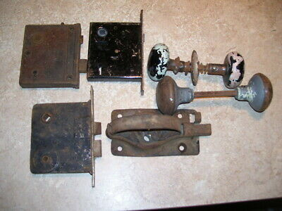 Lot of Antique House Barn Porcelain and Metal Door Knobs & Latches