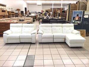100% LEATHER - 2 SEATER + CHAISE + 2 SEATER ELECTRIC RECLINER Gold Coast Region Preview
