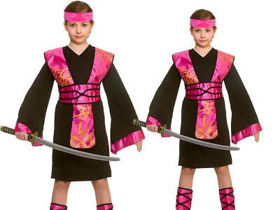 Mädchen Ninja Assassin Kostüm Kinder Schwarz Rosa Kampfsport Samurai Neu