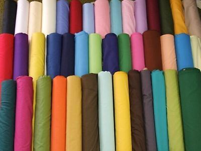 Plain Poly Quality cotton Fabric over 30 Colours free p&p cheapest uk seller