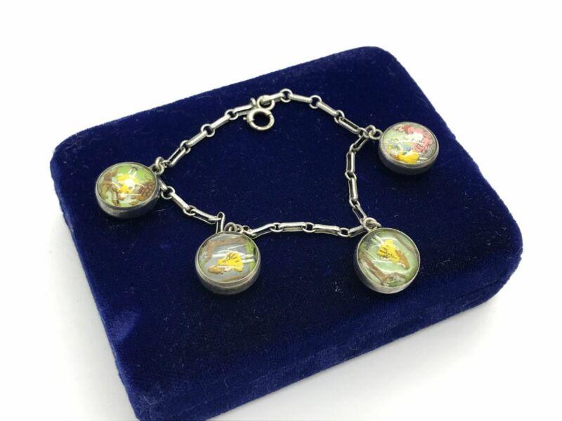 Scarce Alice in Wonderland Victorian Sterling Silver Essex Crystal Bracelet