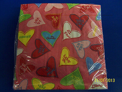 Candy Crush Valentine's Day Hearts Theme Holiday Party Paper Beverage Napkins - Valentine's Day Napkins