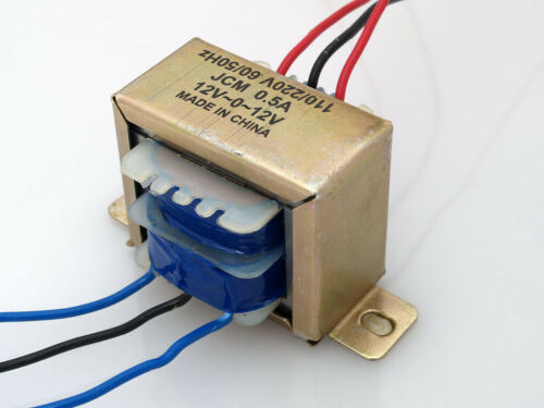 110/220VAC to 24VAC 500mA 0.5A Center Tap Power Transformer 12V-0-12V 24V 12Vx2