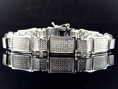 Mens White Gold Over Sterling Silver Simulated Diamond Designer Bracelet 8.5