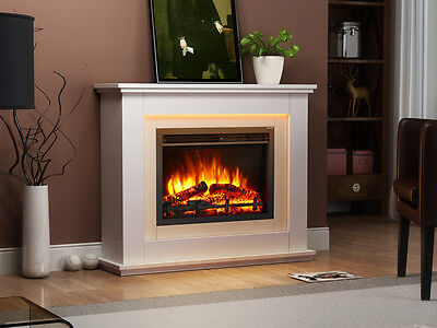 Endeavour Fires Castleton Electric Fireplace in a light cream MDF fire suite